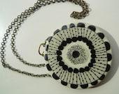 Marimekko/60s inspired round wooden pendant