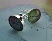 Custom silver plated vintage map cufflinks (1pair)