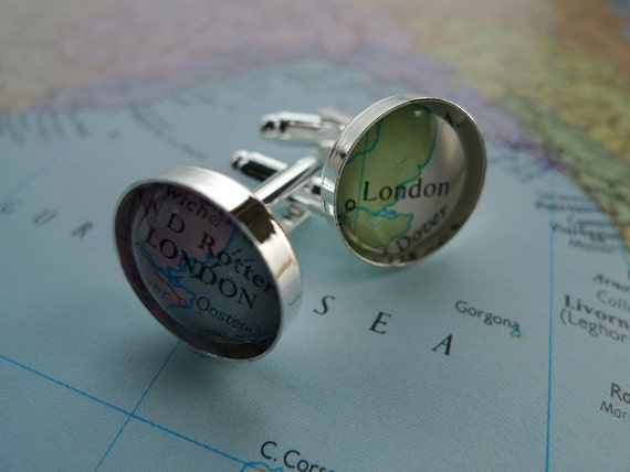 Custom silver plated vintage map cufflinks (1pair)