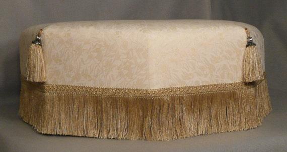 Cream Gold Foot Stool Footstool Ottoman Half Price Sale