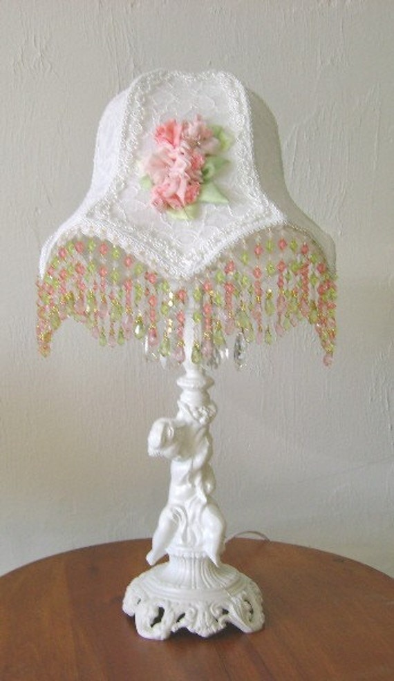 Victorian Lamp Shades on White Victorian Style Lamp Shade With Hand Stitched Silk Flower Trim