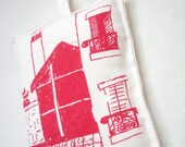 Handmade. Large Pin Cushion. Hat Pin Holder.  Screen Printed . Red . Room with a View in Paris. French Inspired Handmade