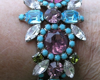 Runway Couture Crystal Rhinestone Chunky Clamper Bracelet Ken  Morrison