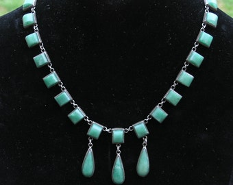 Vintage 1920s signed Mexico silver GREEN turquoise Necklace art deco