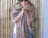 HANDWOVEN  OVERSIZE  PASHMINA // shawl // cover back / big triangle / for all sizes / beige-pink-light blue