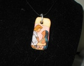 Upcycled Disney's Pocahontas and John Smith glow in the dark Polymer Clay  Pendant