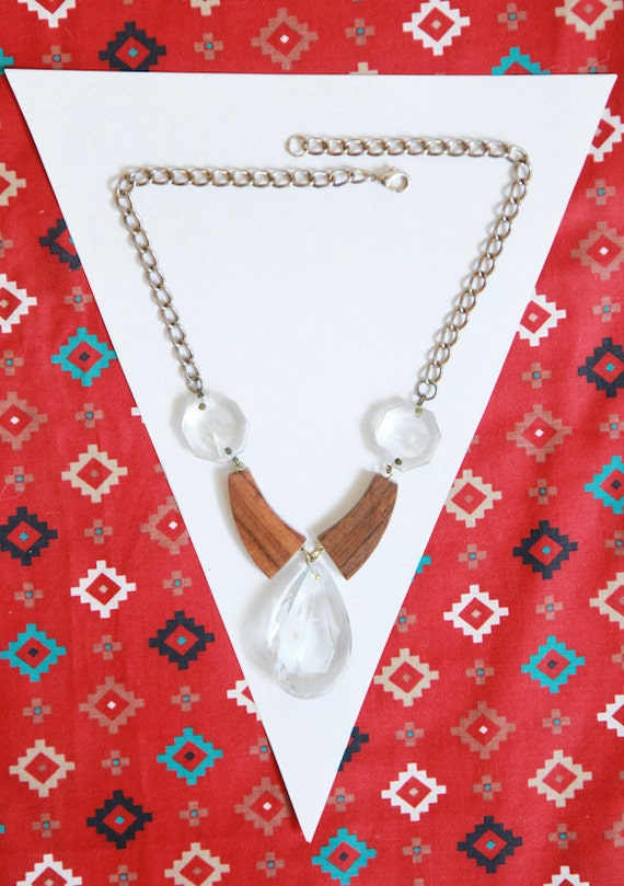 handmade wood and glass pendant necklace