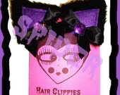 Meow Kitty Black and Purple Glamour Kitty Hair Clips Anime Cosplay Cat Ears