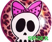Deadsie Cute Skull with Polkadot Bow Leopard Button 1 inch buttons 1 inch pins Gothic Buttons Gothic Accessories