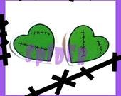 Franken Hearts  Studs Stud Earrings Posts  Frankenstein Love