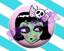 1 inch button Gothic Buttons Cute Frankenstein Girly Pin Pink 1 inch Pins Gothic Accessories