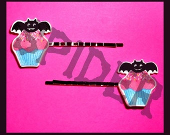 Bat Cupcake Hair Bobbies Bobby Pins Clips Gothic Accessories Goth