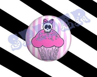 Deadsie Deadly Cupcake (tm) 1 inch button  Skull Pink Cupcake Striped Button 1 inch Pin