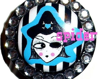 Deadly Pirate (tm) Girl Blue with Striped Background  Bling Bling Badge Holder Id Reel Retractable Gothic Accessories Goth