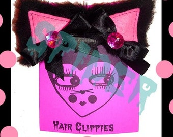 Meow Kitty Glamour Black Faux Fur with Pink Centers and Pink Rhinestones Cat Ears Kitty Cat Hair Clips clippies cosplay