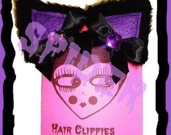 Meow Kitty Black and Purple Glamour Kitty Hair Clips Anime Cosplay Cat Ears Cute Gothic