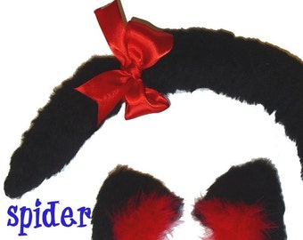 Cat Ears and Tail Set Foofoo Kitty Cat Tail and Puffy  Cat Ear Hair Clips Set with Feathers Cosplay Accessories Gothic Accessories