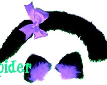 Cat Ears Tail Set Foofoo Kitty Puffy Ears Lavender Black  Hair Clips Feathers Cosplay Accessories Burlesque