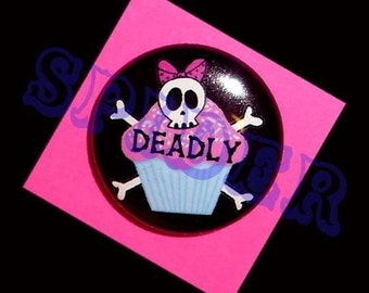 Deadly Cupcakes Pirate Skull Cupcake 1 inch buttons pirates Gothic Accessories Goth Pink Cupcake Button