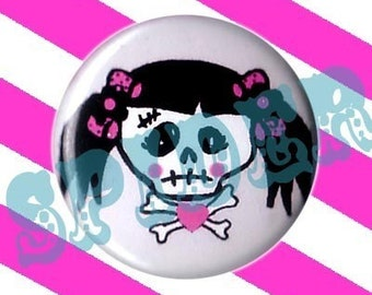 Miss Muerto  Crossbones Day of the Dead Girly Skull 1 inch Pin Buttons Pink Girly Gothic