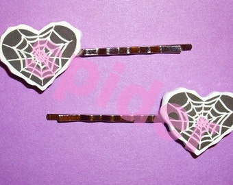 Spider Web Love Heart Hairpins Hair Bobbies Bobby Pins