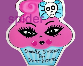 Deadly Yummy For Your Tummy (tm) Miss Cupcake (tm) Window Cling Decal  Pink Cupcake  Decal Decals