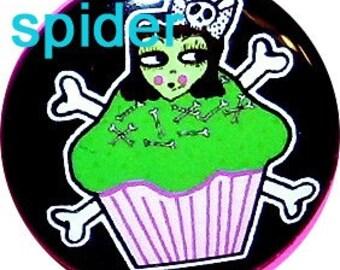 Deadly Cupcake  (tm) Frankenstein Girl Cross Bones Cupcakes 1 inch button Pins Buttons