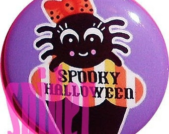 Spooky Halloween Pin Itsy Bitsy Spider Candy Corn Cupcakes  1 inch buttons pins gothic accessories Trick or Treat Halloween Pins Buttons
