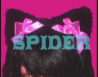Meow Kitty Pink Bling Bling Kitty Ears  Headband Pink Bows Black Faux Fur Cat Ears