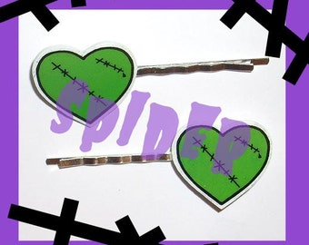 Franken Heart Hair Bobbies Bobby Pins Stitched Hearts  Hair Pins