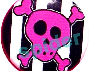 Jolly Roger Pink Skull Black and White Striped Button Pins 1 inch Buttons