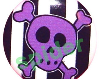 Jolly Roger Purple Skull Black and White Striped Button Pins 1 inch Buttons