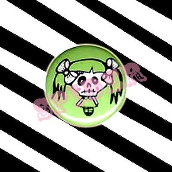 Miss Muerto Day of the Dead Skeleton Girl 1 inch Buttons Pin cute gothic accessories spooky kawaii buttons