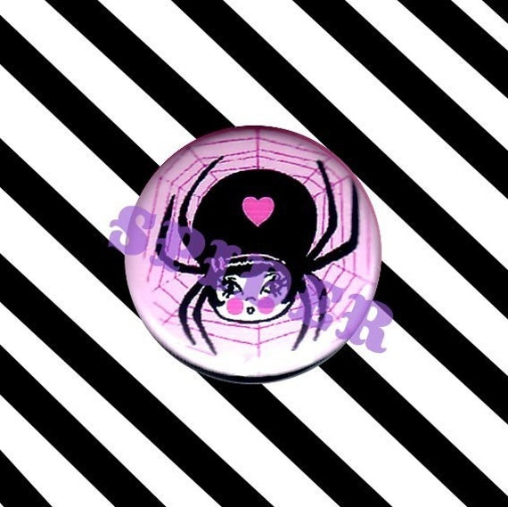 Wendy Widow (tm) Cute Spider Girl Pink Girly 1 inch button pins buttons Gothic girl