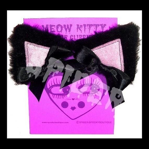 Meow Kitty  Black  Faux Fur Baby Pink Cat Ears Manga Cosplay Ears Hair Clips Kitty Ears