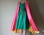 Going to be DEACTIVATED 8/14-- 40s Satin Cape Tassels Pink Golden Yellow Princess Coat Size Small-Medium-Large sm med md lg (0-2-4-6-8-10)