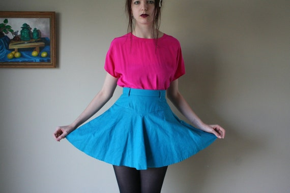 SALE 80's Teal Blue MINI SKIRT with belt loops xs sm med