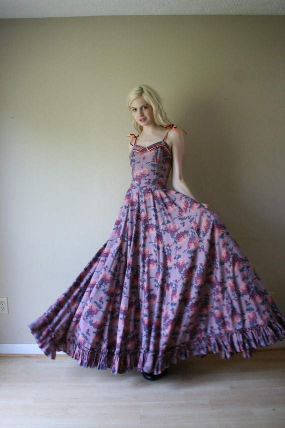 70s dress purple wine and pale pink floral gown with full for Circle skirt wedding dress