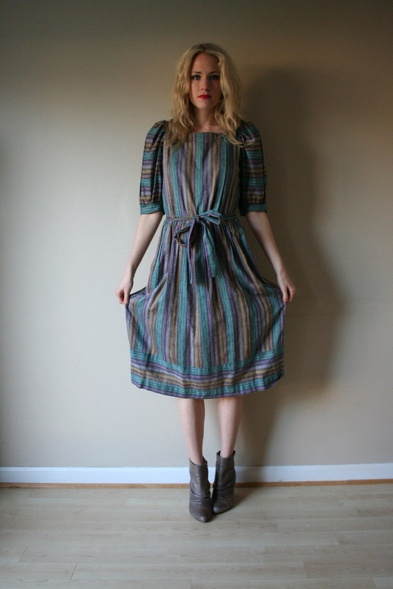 80s Striped Dress Puffed Sleeves Bohemian Shirt Dress Teal Green Purple Copper Brown Gray Size Medium-Large med md lg (4-6-8-10)