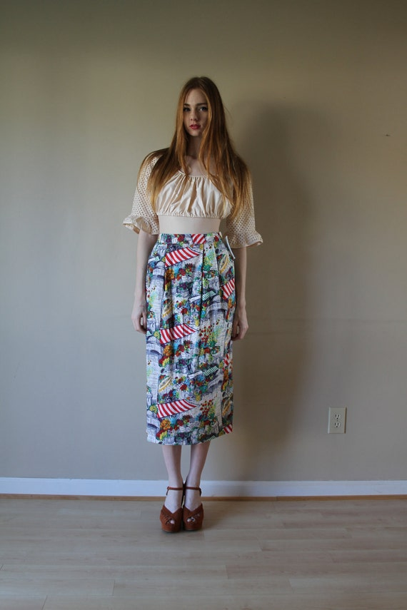 70s Novelty Pencil Skirt French Greenhouse Garden Party Floral Print Stripes Wiggle High Waisted Summer Size Small-Medium sm med md (0-2-4)