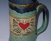 Stoneware Heart Mug, Handmade Coffee Mug, Tea Mug, Unique Coffee Mug, Valentines Mug, Love Handle