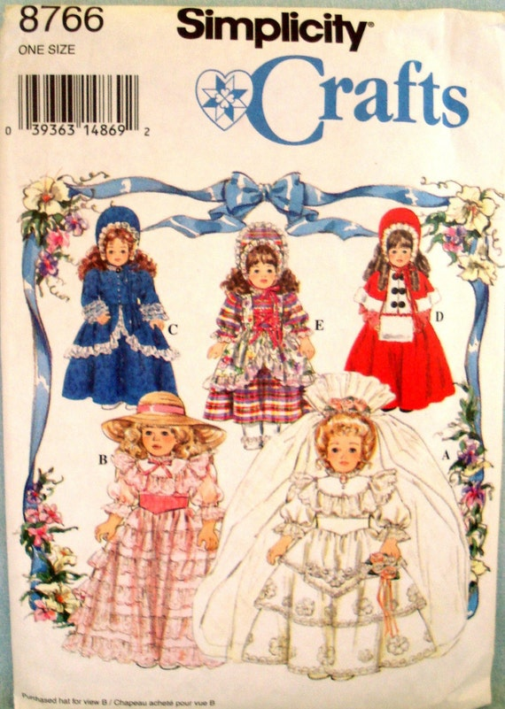 WEDDING DRESS DOLL CLOTHES PATTERN 16 - 18 INCH COSTUME