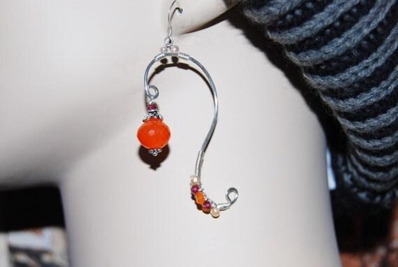 carnelian, pearl and garnet earrings...
