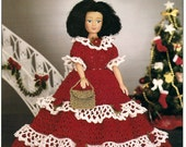 "Crochet Pattern Holiday Gala Dress For A  11 1/2"" Mini Fashion Doll"