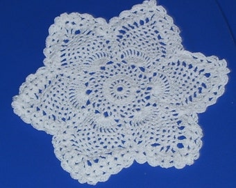 Pointed Star Pineapple Doily 6 Sided Star