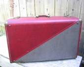vintage 40s suitcase  red and gray luggage  by strat-o-way