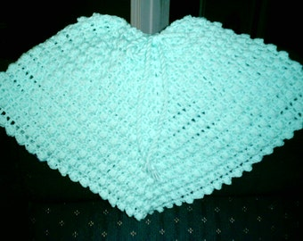 Mint Green Poncho and Hat
