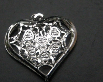 Forever Silver Filigree Heart Charm Large Detail Heart Charms by wishmeaway on Etsy