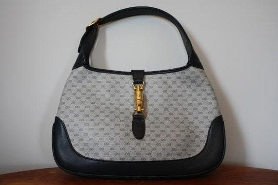 Vintage 80's GUCCI Navy Blue Canvas Leather GG Monogram Jackie O Bag ...
