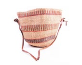 Vintage Ethnic Woven Purse // Sisal and Brown Leather Market Bag / Large